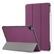 Litch Skin PU Leather Tri-fold Stand Tablet Case for iPad Pro 11-inch (2020) / (2018) - Purple