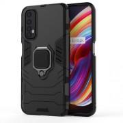 PC + TPU Finger Ring Kickstand Hybrid Phone Case for Oppo Realme 7 - Black