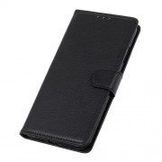 Litchi Skin PU Leather Protective Phone Case Wallet Stand Shell for Realme 7 - Black