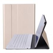 A0T5 Δερμάτινη Θήκη Βιβλίο με Ασύρματο Πληκτρολόγιο για Huawei MediaPad T5 10.1 / Honor Pad 5 10.1 - Χρυσαφί