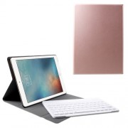 9.7-inch Leather Stand Case + Bluetooth Keyboard for iPad 9.7 (2017)/Pro 9.7/iPad Air 2/Air - Rose Gold Color