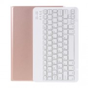 """Wireless Bluetooth Keyboard Leather Stand Cover for Honor Pad 6/Huawei MediaPad T3 10.1""""/C3 10.1/Enjoy Tablet 2 - Rose Gold"""