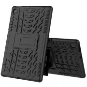 Cool Tyre Pattern PC + TPU Tablet Back Case with Kickstand for Lenovo Tab M10 Plus TB-X606F - Black