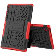 Cool Tyre Pattern PC + TPU Tablet Back Case with Kickstand for Lenovo Tab M10 Plus TB-X606F - Black/Red