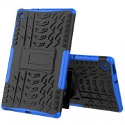 Cool Tyre Pattern PC + TPU Tablet Back Case with Kickstand for Lenovo Tab M10 Plus TB-X606F - Black/Blue