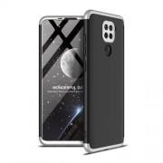 GKK 360 μοιρών Σκληρή Θήκη Ματ με Βελούδινη Υφή Πρόσοψης και Πλάτης για Xiaomi Redmi Note 9 - Μαύρο / Ασημί