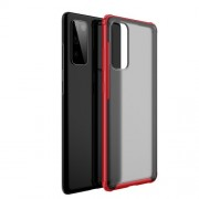 Υβριδική Θήκη Σιλικόνης TPU με Σκληρή Διάφανη Πλάτη για Samsung Galaxy S20 Lite / S20 Fan Edition - Κόκκινο
