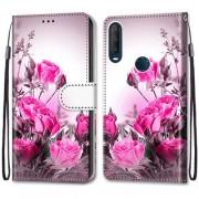 Δερμάτινη Θήκη Πορτοφόλι με Βάση Στήριξης για Alcatel 1SE (2020) - Φούξια Λουλούδια