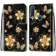 Pattern Printing Cross Texture Leather Wallet Phone Cover with Strap for Alcatel 1SE (2020) - Butterfly and Flowers