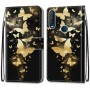 Pattern Printing Cross Texture Leather Wallet Phone Cover with Strap for Alcatel 1SE (2020) - Gold Butterfly