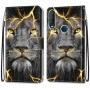 Pattern Printing Cross Texture Leather Wallet Phone Cover with Strap for Alcatel 1SE (2020) - Lion Face