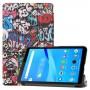 Pattern Printing PU Leather Tri-fold Stand Tablet Case for Lenovo Tab M7 TB-7305 - Cartoon Graffiti