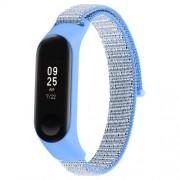 Nylon Velcro Υφασμάτινο Μπρασελέ για Xiaomi Mi Band 4 / Band 3 - Γκρι / Γαλάζιο