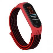 Nylon Velcro Υφασμάτινο Μπρασελέ για Xiaomi Mi Band 5 - Μαύρο / Κόκκινο