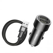 BASEUS 3.4A Dual USB Ports Smart Car Charger + 2A 1M Type-C Data Sync Charge Cable