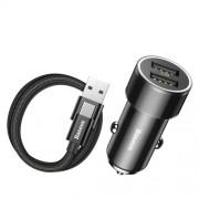 BASEUS 3.4A Φορτιστής Αυτοκινήτου με δύο Θύρες USB με Καλώδιο Φόρτισης και Δεδομένων 2A 1M Type-C - Μαύρο