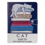 Pattern Printing Universal Leather Wallet Case for 10-inch Tablet PC - Cat and Books