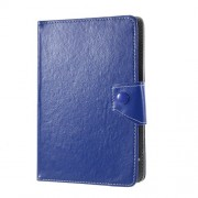 Universal Crazy Horse Texture Leather Tablet Case Wallet Cover for 7-inch Tablets - Dark Blue