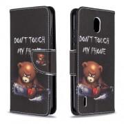 Δερμάτινη Θήκη Πορτοφόλι με Βάση Στήριξης για Nokia 1.3 - Θυμωμένο Αρκουδάκι