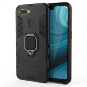 Cool Guard PC + TPU Hybrid Phone Case with Kickstand for Oppo A7/A12 - Black