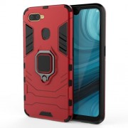 Cool Guard PC + TPU Hybrid Phone Case with Kickstand for Oppo A7/A12 - Red