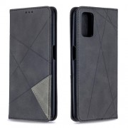 Geometric Pattern Leather Stand Case with Card Slots for OPPO A72/A52/A92 - Black