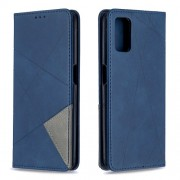 Geometric Pattern Leather Stand Case with Card Slots for OPPO A72/A52/A92 - Blue