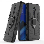 Cool Guard Ring Holder Kickstand PC+TPU Hybrid Phone Cover for OPPO Reno2 Z - Black