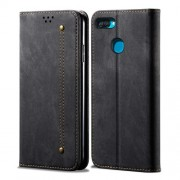 Jeans Cloth Wallet Stand Leather Case for Oppo A12 - Black