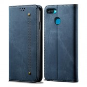 Jeans Cloth Wallet Stand Leather Case for Oppo A12 - Blue