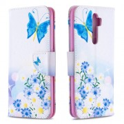 Printing Skin Shell Leather Phone Cover for Oppo A5 (2020)/A9 (2020)/A11x - Butterfly and Daisy