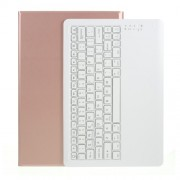 Bluetooth Keyboard Litchi Skin Leather Stand Case for Samsung Galaxy Tab S7 Plus (2020) - Rose Gold