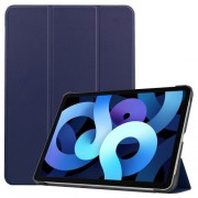 Litch Skin PU Leather Tri-fold Stand Tablet Case for iPad Air (2020) - Dark Blue