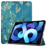 Δερμάτικη Θήκη Βιβλίο Tri-Fold με Βάση Στήριξης για iPad Air (2020) - Ανθισμένα Κλαδιά σε Μπλε Φόντο