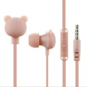 Creative Cartoon Universal 3.5mm In-Ear Wired Earphones with Mic MW-102 - Pink