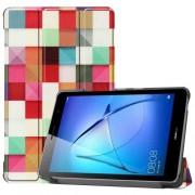 Δερμάτινη Θήκη Βιβλίο Tri-Fold με Βάση Στήριξης για Huawei MatePad T8 - Πολύχρωμα Τετράγωνα