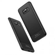 IPAKY Θήκη Σιλικόνης TPU Carbon Fiber Brushed για Samsung Galaxy S8 SM-G950 - Μαύρο
