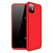 GKK 360 μοιρών Σκληρή Θήκη Ματ με Βελούδινη Υφή Πρόσοψης και Πλάτης για iPhone 11 6.1 inch (2019) - Κόκκινο