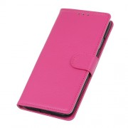 Litchi Style Wallet Stand Flip Leather Cell Phone Covering for Oppo Realme 5 / Realme Q - Rose