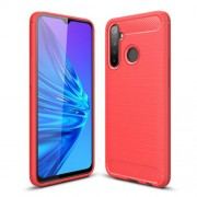 Carbon Fiber Brushed TPU Shell Case for Realme 5 Pro - Red