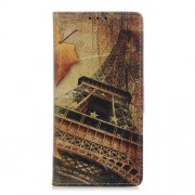 Pattern Printing PU Leather Wallet Stand Phone Shell for Xiaomi Redmi Note 9 / Redmi 10X 4G - Eiffel Tower