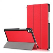 Litch Skin PU Leather Tri-fold Stand Tablet Case for Lenovo Tab M8 TB-8505 - Red