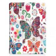 Δερμάτινη Θήκη Βιβλίο Tri-Fold με Βάση Στήριξης για Lenovo Tab E10 - Πολύχρωμες Πεταλούδες και Λουλούδια