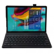 2-in-1 Bluetooth Keyboard with Stand Leather Protective Shell for Samsung Galaxy Tab S6 Lite - Black
