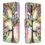 Pattern Printing Leather Wallet Case for Samsung Galaxy A41 (Global Version) - Colorized Tree