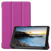 Tri-fold Stand Leather Tablet Casing for Samsung Galaxy Tab A 8.0 Wi-Fi (2019) T290/ LTE T295 - Purple
