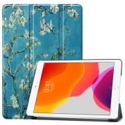 Pattern Printing PU Leather Tri-fold Stand Tablet Case for iPad 10.2 (2019) - Flower