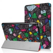 For iPad 9.7 (2018) / 9.7 (2017) Patterned Tri-fold Stand Smart Leather Tablet Case - Geometric Pattern
