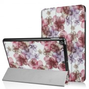 For iPad 9.7 (2018) / 9.7 (2017) Patterned Smart Leather Case Tri-fold Stand - Pretty Flowers