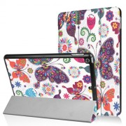 Patterned Tri-fold Leather Smart Case Stand for iPad 9.7 (2018) / 9.7 (2017) - Butterflies and Flowers